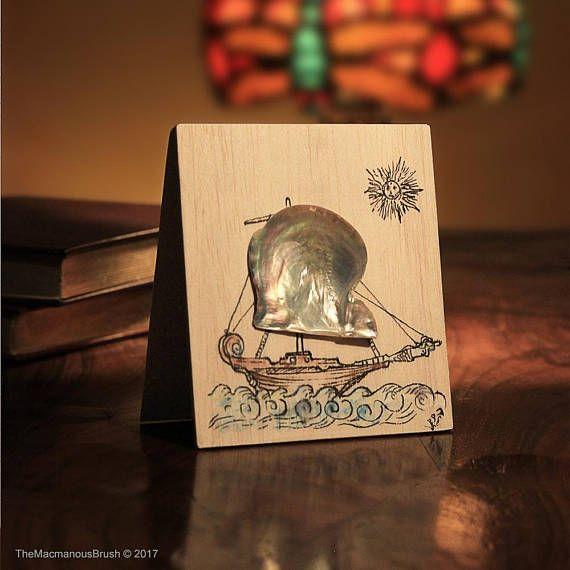 #Balsa wood & #shell card ~  #balsawood #inkdrawing