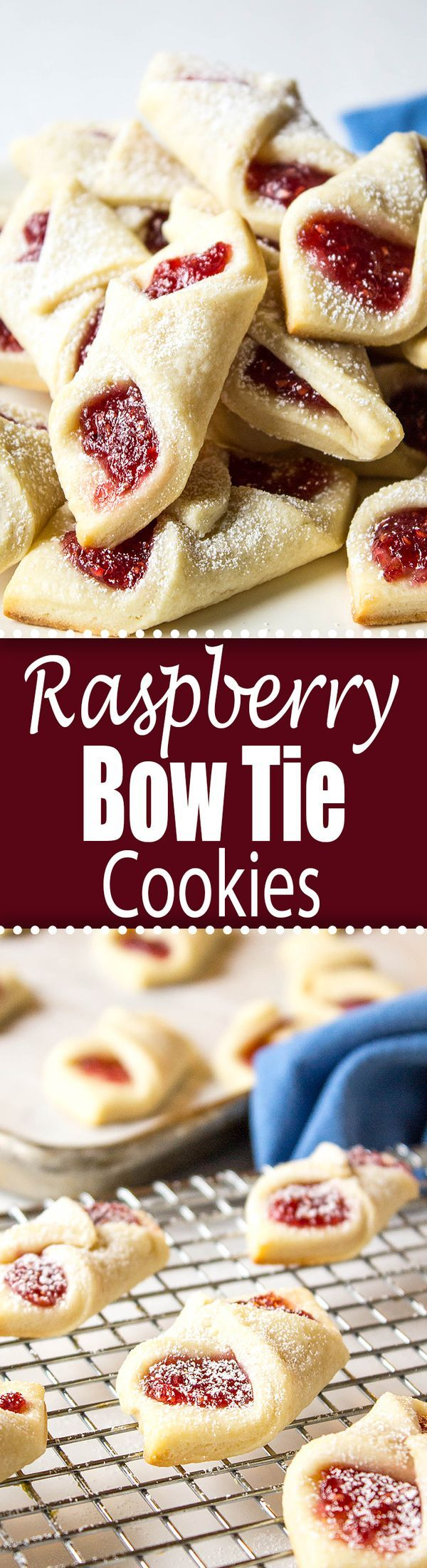 Raspberry Bow Tie Cookies are a perfect cookie to add to your holiday tray. #christmas #recipe