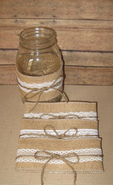 BURLAP LACE MASON JAR SLEEVES...I lije these for on tables for fall gno Leah!  Very similar to what you made for tea party.