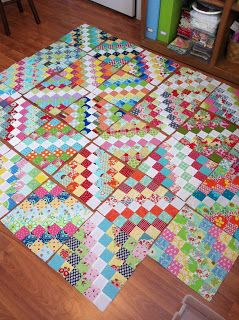 "The Bees Knees - A Quilting Bee like the white down centre. Could do this with 1"" squares"