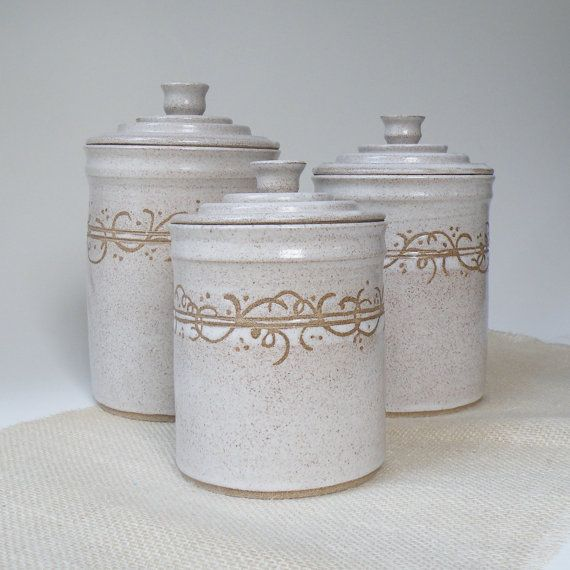 Hey, I found this really awesome Etsy listing at https://www.etsy.com/listing/188408424/white-kitchen-canisters-set-of-3-made-to