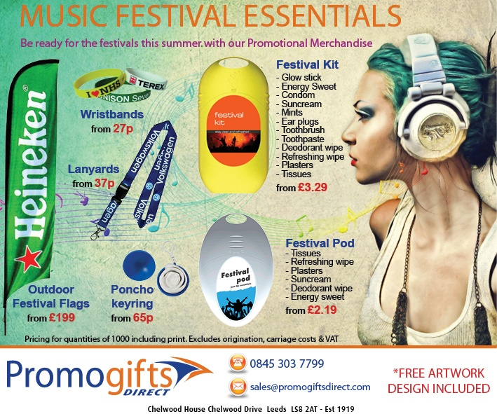 Festival Promotional Essentials - FREE artwork - www.promogiftsdirect.com - sales@promogiftsdirect.com
