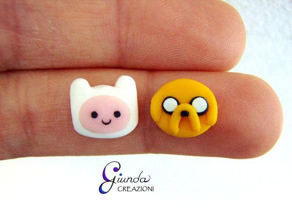 Orecchini da lobo Adventure Time Finn e Jake di GiundaCreazioni