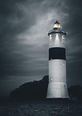 Regnig kväll vid Långe Jan på Ölands södra udde.