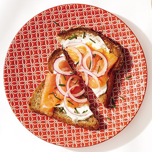 Smoked Salmon toast:  1 slice whole-wheat bread, toasted 1 1/2 Tbsp cream cheese 2 oz smoked salmon 1 thick slice red onion 1 Tbsp chives  Spread cream cheese on toast, and top with salmon, onion, and chives.  Total: 360 calories