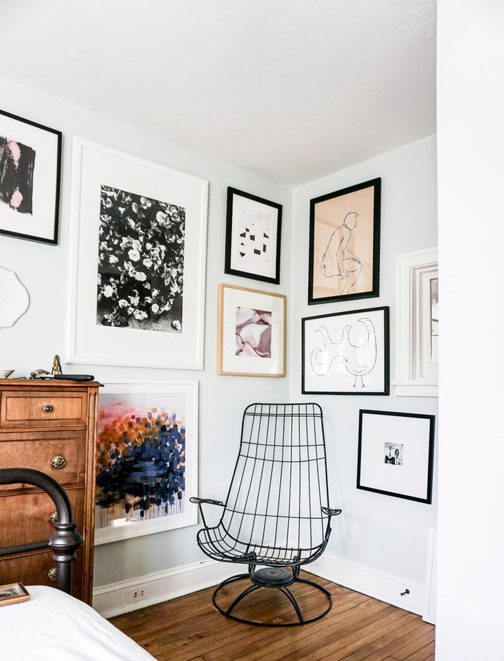 Obsessed with @katea's wall-wrapping gallery arrangement of eclectic art and frames. Would you ever let a gallery wall span multiple walls?  Parachute Gallery Wall | via Wit & Delight
