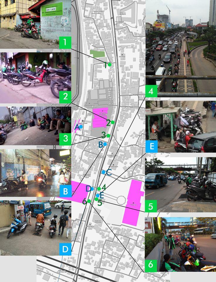 Mapping pangkalan ojek dan tempat berkumpul ojek online di kawasan Margonda