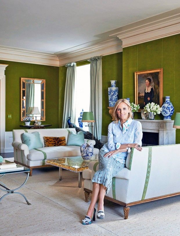 13 Glamorous Green Interiors To Fill You With Envy. Living Room Luxe. Tory Burch in her Fifth Avenue apartment in the Pierre Hotel. Walls are upholstered in green velvet. Interior Design: Daniel Romualdez.