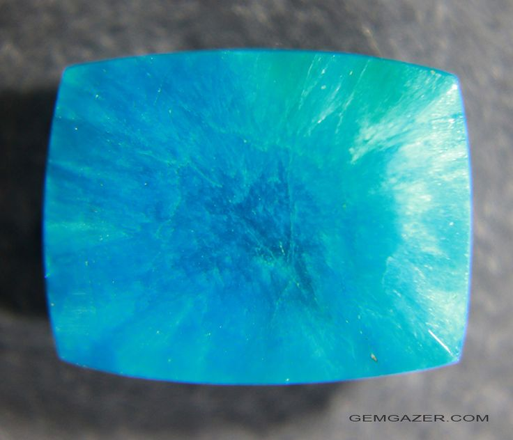 Cavansite is a fibrous translucent to opaque mineral which is not commonly found as a faceted gem. This fine translucent neon blue gemstone from India weighs 4.71 carats.
