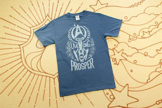 Star Trek T-Shirt // Live Long and Prosper Spock shirt in Vintage Blue with silver ink // Hand Screen Printed // Available In Plus Size