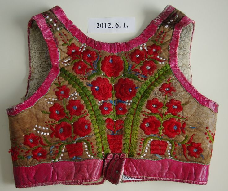 Palóc embroidered leather vest, from Northern Hungary