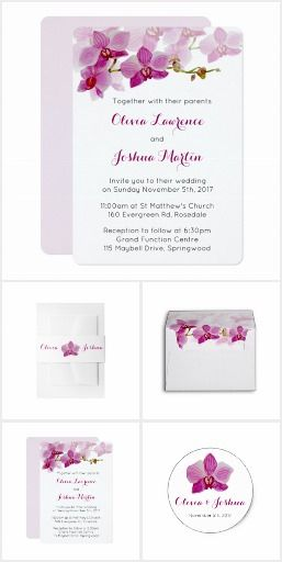 Watercolor Purple Orchid Wedding Invitation Collection | Red Plum, Beaujolais, Boysenberry, Raspberry Radiance, Sangria wedding colors | Floral, garden wedding.