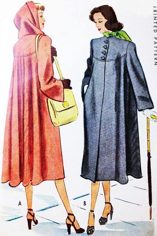 1940s LOVELY Film Noir Style Swing Back Coat Detachable Hood Pattern McCALL 6993 Beautiful Style Bust 32 Vintage Sewing Pattern FACTORY FOLDED