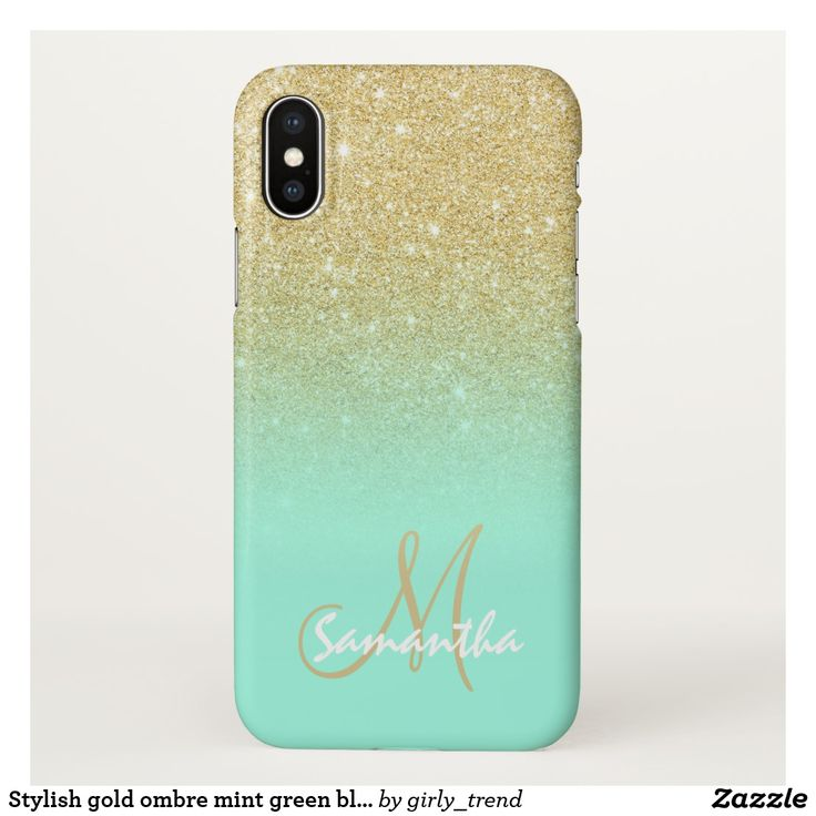 Stylish gold ombre mint green block personalized iPhone x case