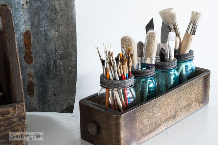 Mason jar paint brush storage / How to purge like a pro... and win back your home! By Funky Junk Interiors for ebay.com