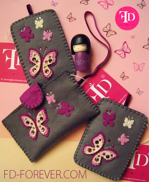 Charming Violetta Butterflies Collection including elegant handmade felt mobile & camera cases by FD. FOREVER