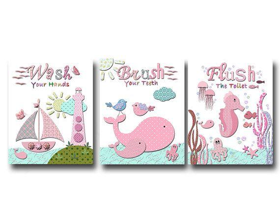 Ocean bathroom art for girls kids bathroom art by PinkRockBabies