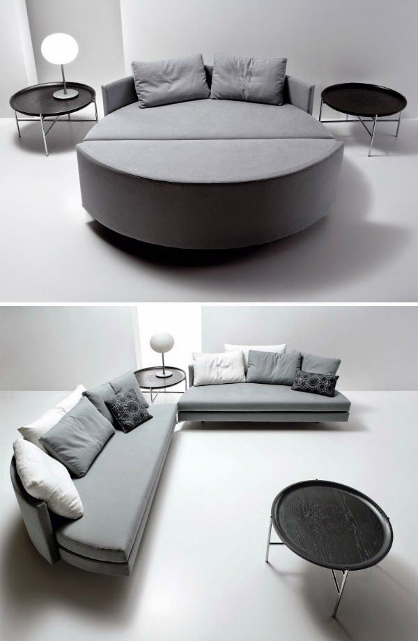> > > 65 Creative Furniture Ideas -  Saba Italia Scoop Tondo Sofa Bed The two elements that compose the project are bound with a peculiar steel zip and provided with a fastening system for the bed configuration. The union of the two sofas is intuitive since one of the two elements is provided with small wheels that allows you to rotate the movable module towards the fixed one easily. [Link]