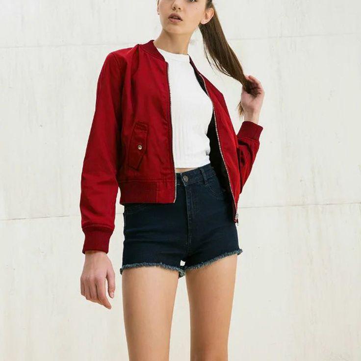 Veste bomber femme rouge