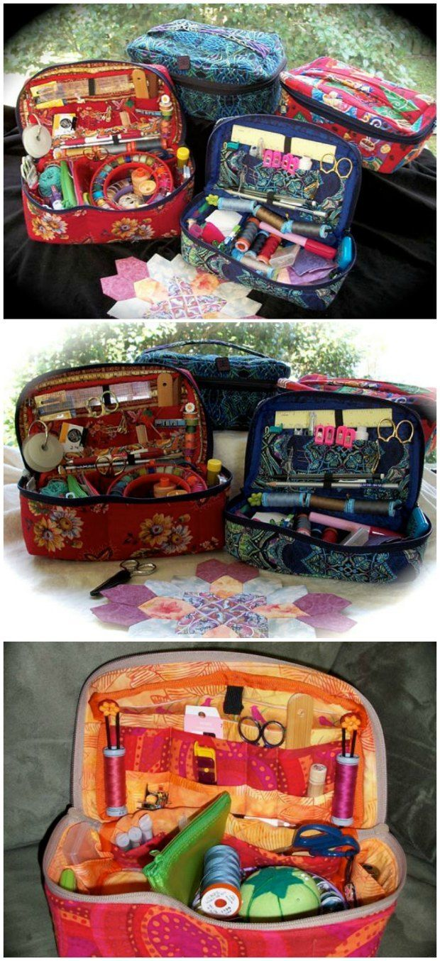 Fabric sewing basket pattern. Genius! Sewing pattern for how to make your own sewing basket. Could also be used for knitting, quilting or other craft and hobby supplies. Excellent chance to make the pockets exactly right for what you want to copy. MUST MAKE THIS!