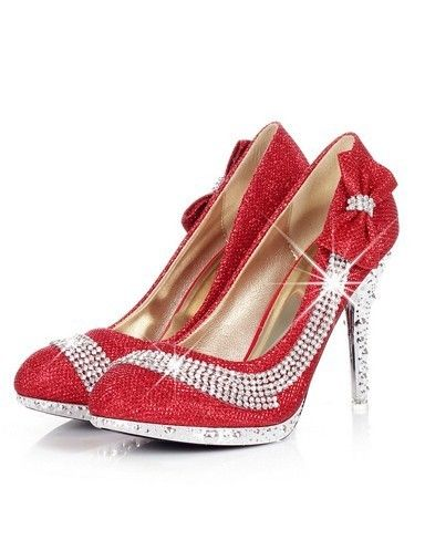 Elegant Round Closed Toe Red Bow Tie & Diamond Embellished Stiletto High PU Party Pumps