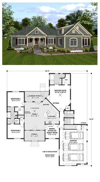 Craftsman House Plan 92385 | Total living area: 1800 sq ft, 3 bedrooms & 3 bathrooms. A quaint siding version is reminiscent of arts and crafts styling. While a brick and siding version is a little more traditional. #houseplan #craftsman