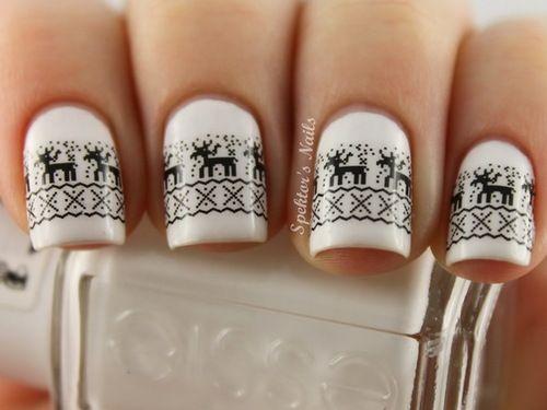White & black jumper nail art inspiration.