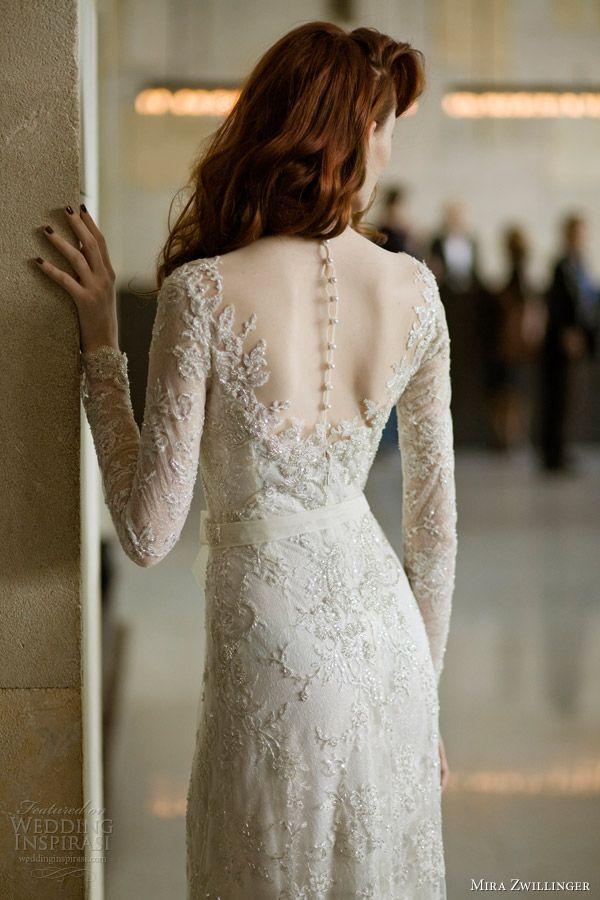 mira zwillinger 2014 bridal angelina wedding dress long sleeves sheer back