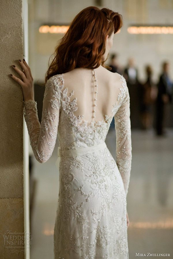 mira zwillinger 2014 bridal angelina wedding dress long sleeves sheer back