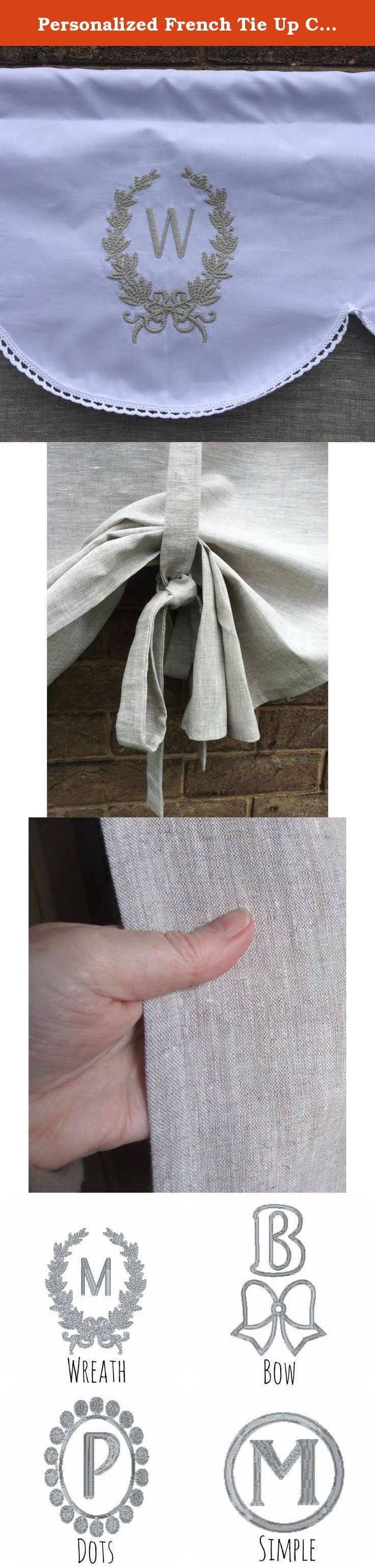 Personalized French Tie Up Curtain Grey Natural Flax Linen Door Custom Monogram. This beautiful elegant panel is a statement piece for any room or hang at your front door to provide a little privacy ! It is customized with your personal monogram. Maybe your family name?.