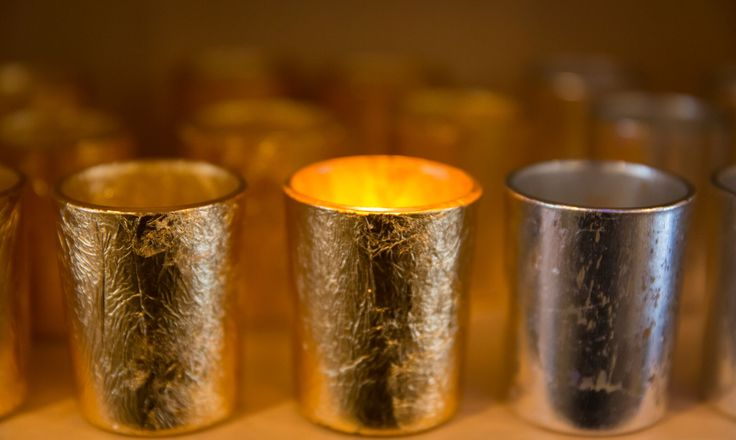 Gold tea light holders available in store at Chandelle Galerie.