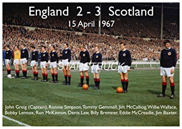 England v Scotland 1967 at Wembley 2-3 Billy Bremner Jim Baxter Denis Law John Greig Bobby Lennox Exclusive A4 Print