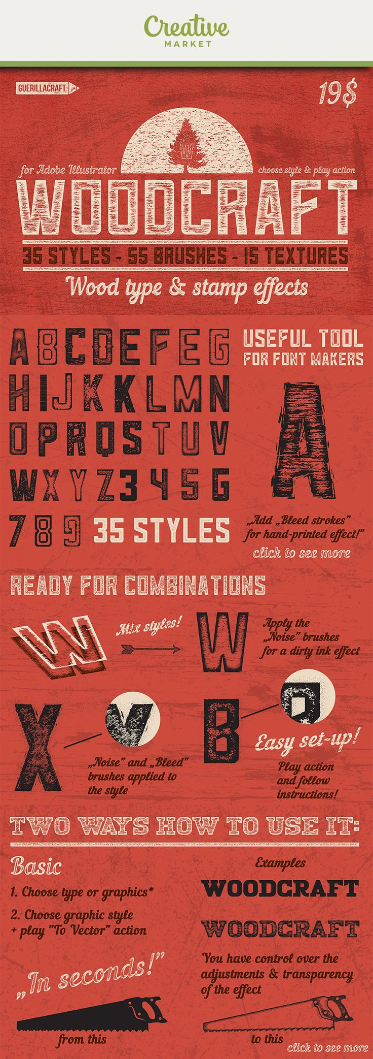 Ad: Woodcraft is a pack containing Styles, brushes and textures for making Wood Type and Stamps graphics in Adobe Illustrator! It is handy tool for the lettering artists and font makers! Just apply style to your typography and play action! Get vintage looking type in seconds. Now on Creative Market!