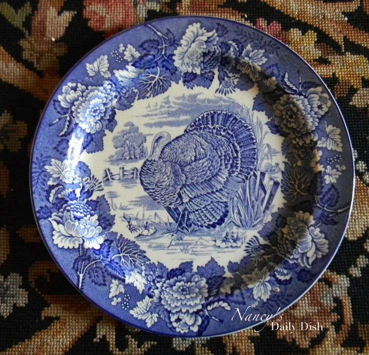 Vintage Thanksgiving Turkey Plate Enoch Wood & Sons English Scenery Blue and White Transferware Plate