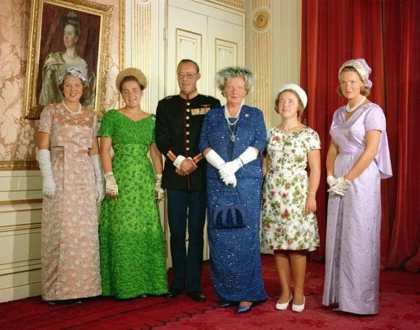 Princesses Beatrix, Irene, Margriet and Christina of the Netherlands with their parents, Prince Bernhard and Queen Juliana