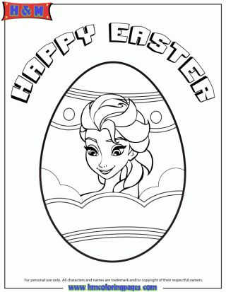 Elsa In Easter Egg Coloring Page