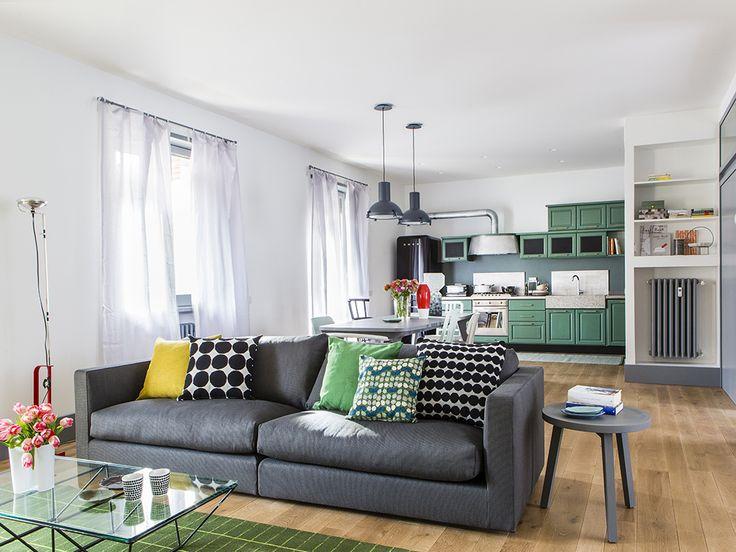 cucina-soggiorno: un grande ambiente unico | casa | pinterest - Ambiente Unico Cucina Soggiorno Foto