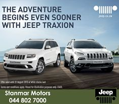 The adventure begins even sooner with #Jeep Traxion. No deposit, guaranteed buyback and sub-prime interest rates with the new Jeep TraXion finance, to read more click here: http://apost.link/39q. #TraXion. Contact #TeamStanmar on 044 802 7000 for more information. https://www.facebook.com/stanmarmotors/photos/pb.476639145762641.-2207520000.1434697434./836525356440683/?type=3