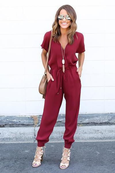 ebfd0d391f0 Pure Color V-neck Short Sleeves Long Loose Jumpsuit