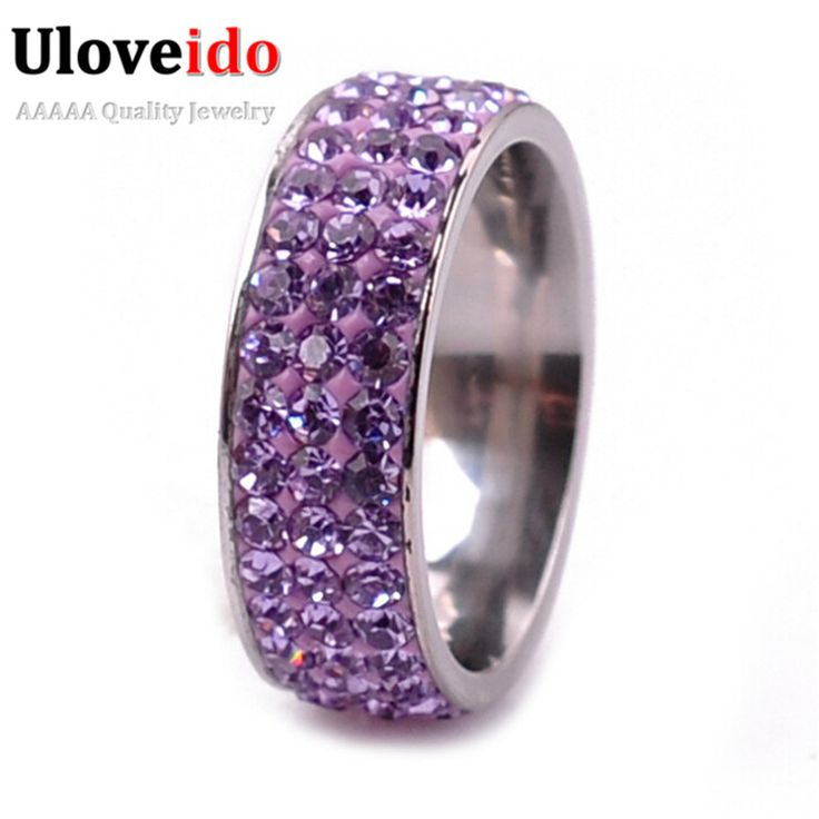 Uloveido Purple Pink Stainless Steel Women's Rings with Stones Vintage Jewelry Engagement Ring Bijoux Femme Christmas Sale YL003