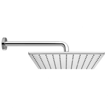 Cloud 300 BRASS square single function fixed shower head - with 300 wall arm