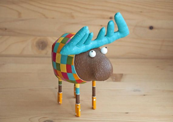 Very charming moose in the yellow socks by MarLitoys on Etsy