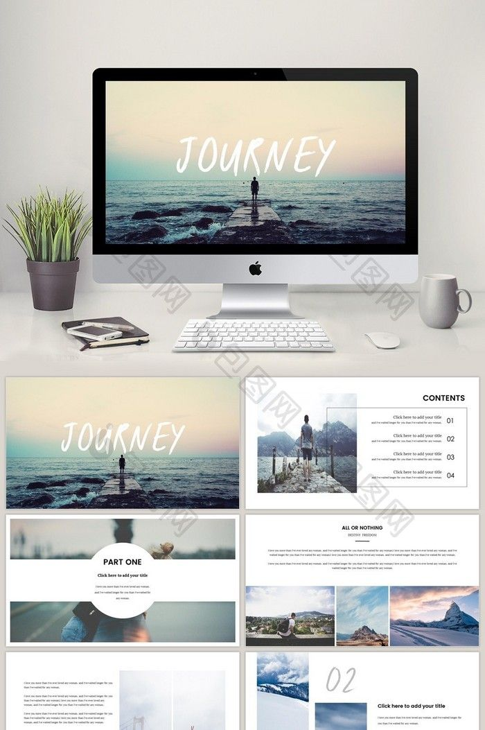 Simple nature western style magazine travel PPT template Free