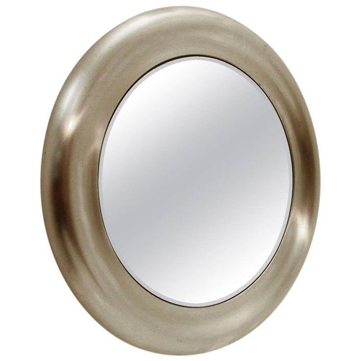 Italian Circular Brushed Metal Mirror, 1970s