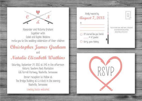 Gone Fishing Wedding Invitation And RSVP Postcard