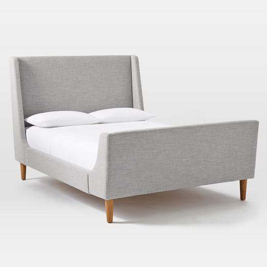 Upholstered Sleigh Bed Set, Full, Linen Weave, Platinum