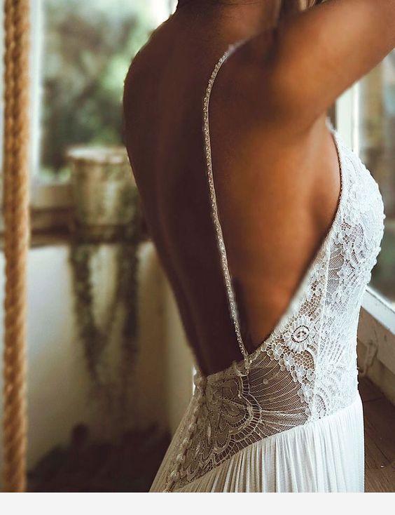 Rückenfreies Hochzeitskleid das ich liebe