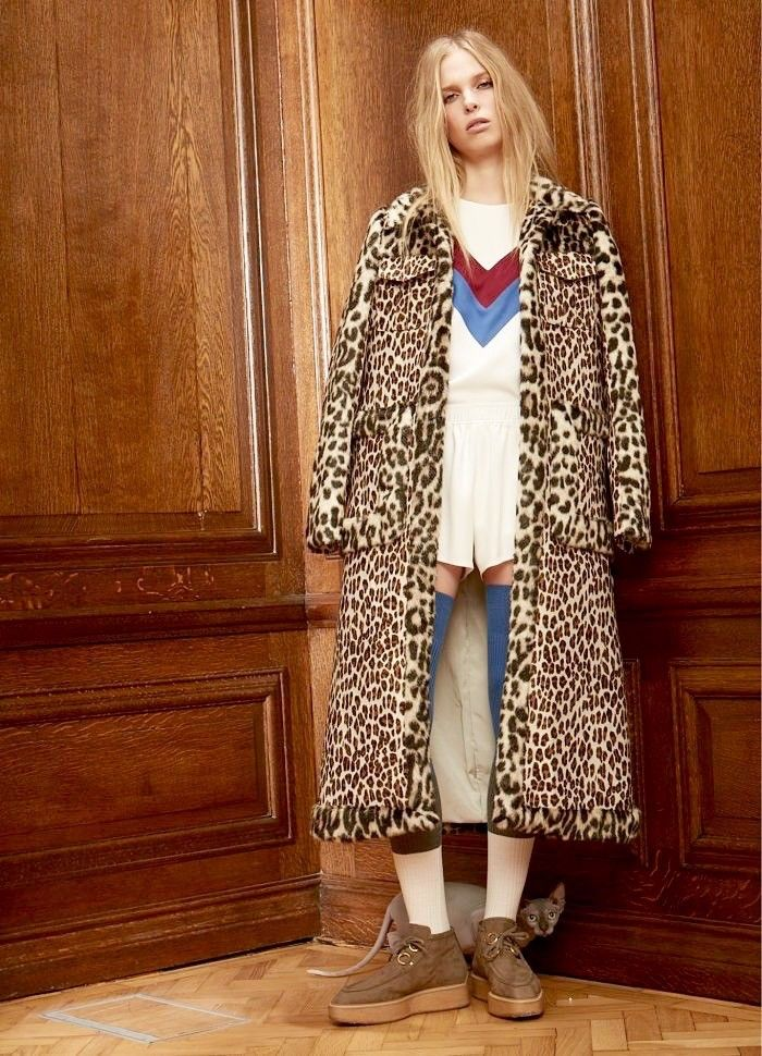 cross between a Wes Anderson character and Edie Sedgwick - Stella McCartney Pre-Fall Includes the Coolest Faux-Leopard Coat via @WhoWhatWear