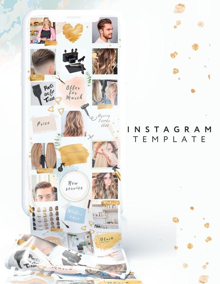 Beauty salon Canva templates template kit instagram