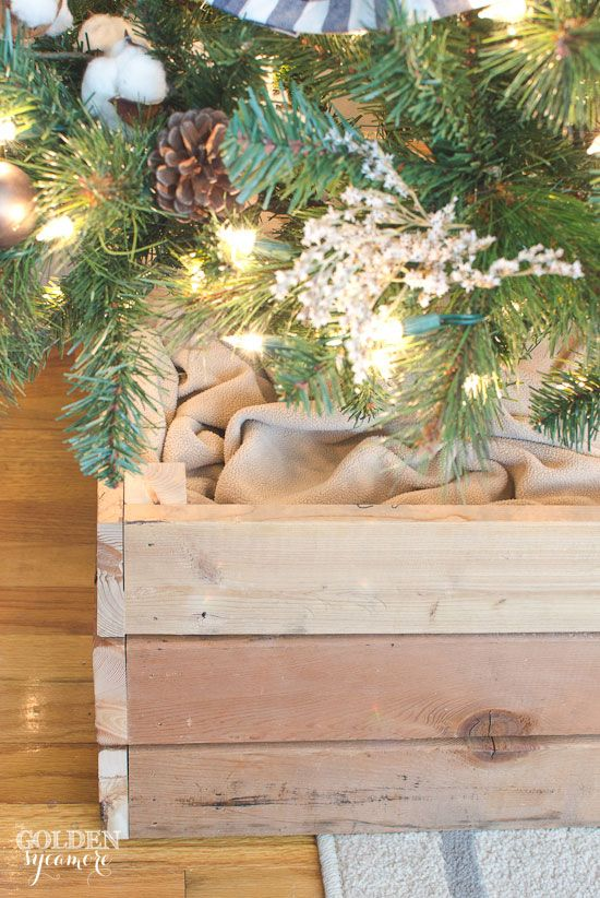 Christmas tree stand box is a great alternative to a tree skirt | The Golden Sycamore
